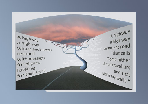 Illustrated visual poem Highway Enveloped by Phillips