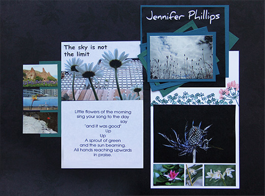 scrapbook poem The sky is not the limit, by Jennifer Phillips